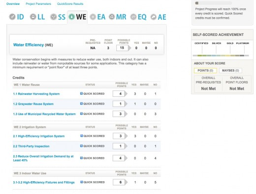 Leed for homes scoring tool for Leed for homes rating system